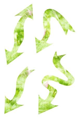flecha direccion: Conjunto de flechas verdes con el modelo abstracto aislado en el fondo blanco