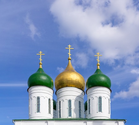 ecclesiastical: Domes of Orthodox Church against background of blue sky Stock Photo