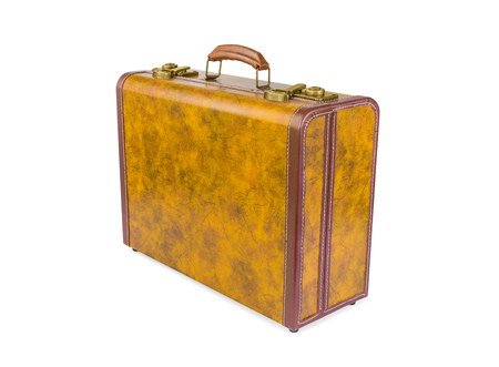 vintage backgrounds: Retro suitcase made of genuine leather isolated on white background Stock Photo