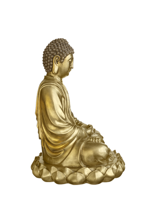 poise: Golden Buddha sits in lotus posture isolated on white background