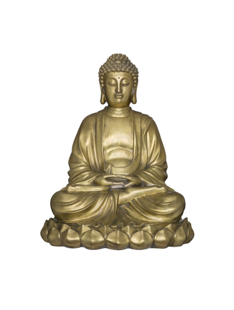 sanctity: Golden Buddha sits in lotus posture isolated on white background