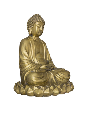 impassive: Golden Buddha sits in lotus posture isolated on white background