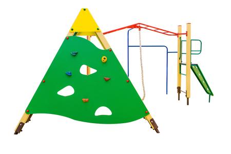Gymnastic training simulator is on playground. Isolated on white background
