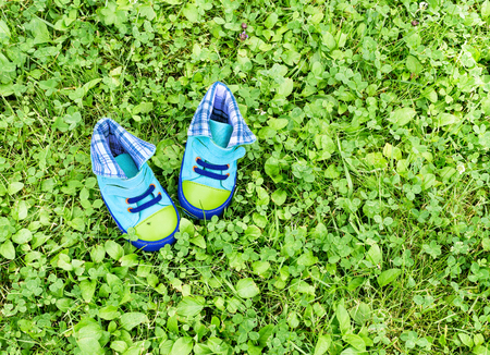 Infant blue shoes are on lawn. View from above. Copy space