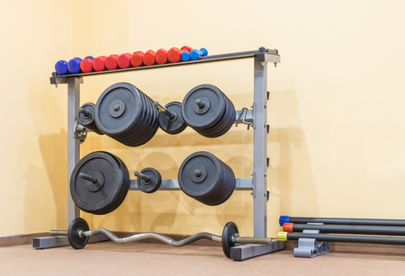 Stand with weight plates and dumbbells are near wall of gym. Copy space