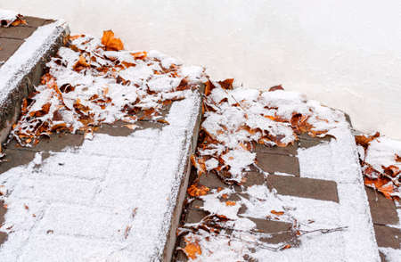 Steps of stone staircase with fallen autumn leaves are covered with first snow