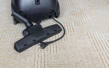 Turbo brush for cleaning pet hair lie on carpet near vacuum cleaner. Copy space Standard-Bild
