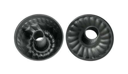Collapsible baking dish with hole for making cupcakes. Top view. Isolated on white background