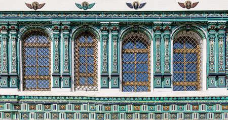 ISTRA, RUSSIA - SEPTEMBER 12, 2017: Resurrection (Voskresenskiy) Cathedral of Orthodox New Jerusalem Monastery. Windows with ornate lining from ceramic glazed tile. Sunny day
