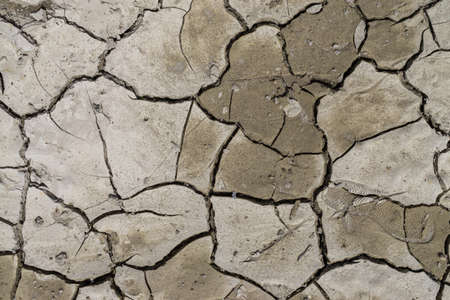 Fissures and footprint on dry ground during drought. Natural background. Sunny day
