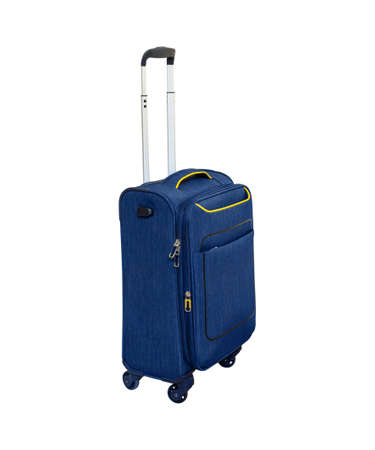 Compact blue suitcase on wheels with telescopic handle. Isolated on white background