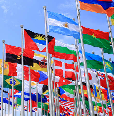 Brazil Argentina and world flags is flying Stock Photo - 11501187