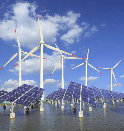Power plant using renewable solar energy with sun  and wind turbine