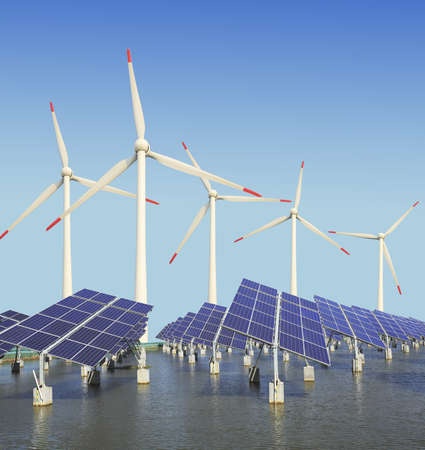 Power plant using renewable solar energy with sun and wind turbine  Stock Photo