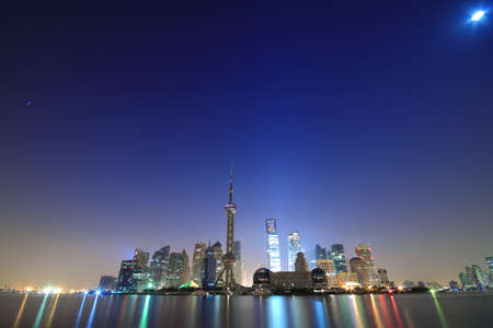 Shanghai landmark skyline at dawn city landscape Stock Photo