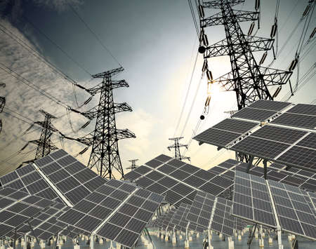Power plant using renewable solar energy with sun and Power transmission tower Stock Photo - 16452706