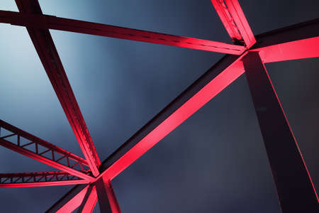 Steel structure bridge close-up night scene photo