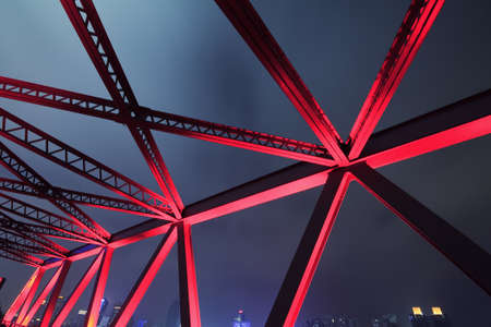 steel arch bridge: Steel structure bridge close-up night scene
