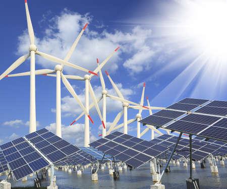 energia electrica: Central el�ctrica con energ�a solar renovable con turbina sol y el viento