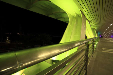 Highway bridge at green night photo