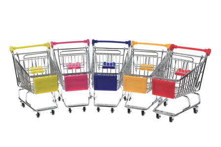 Five metal shopping cart on a white background photo