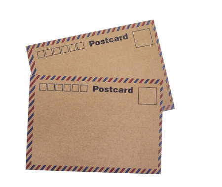 Isolated  white background of kraft paper postcards Stock Photo - 17024117