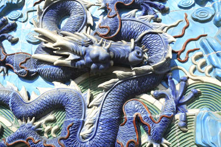 Chinese ancient royal of ceramics blue dragon