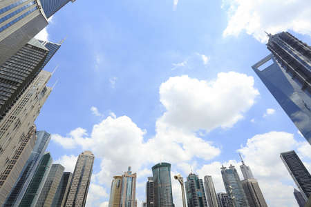 huangpu: Looked up at the Shanghai Lujiazui urban buildings landscape