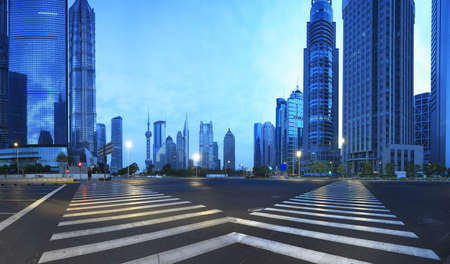 The street scene of the century avenue in shanghai,China
