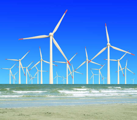Eco power, wind turbines in the sea Stock Photo - 17024304