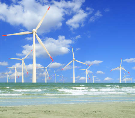 Eco power, wind turbines in the sea photo