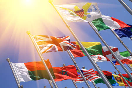 commonwealth: UK and world national flags is flying