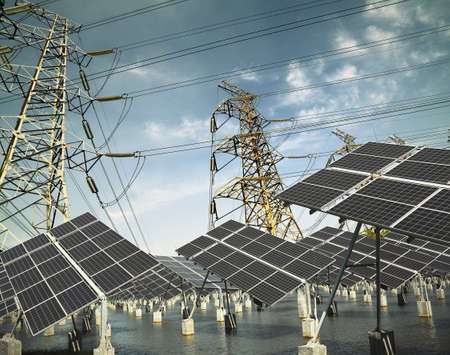 Power plant using renewable solar energy with sun and Power transmission tower photo