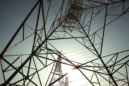Bottom mesh transmission power towers photo
