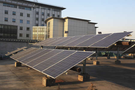 Buildings the roof using renewable solar power plant
