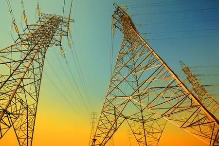 The power transmission towers of sky background Stock Photo - 19448317