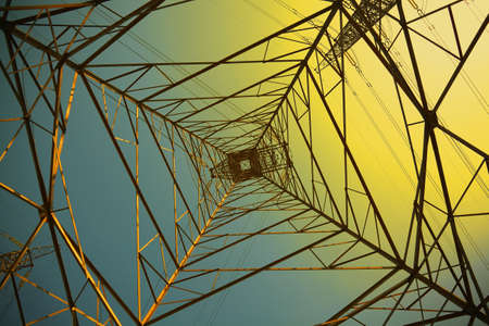 Power transmission towers of sky background Stock Photo - 19448201
