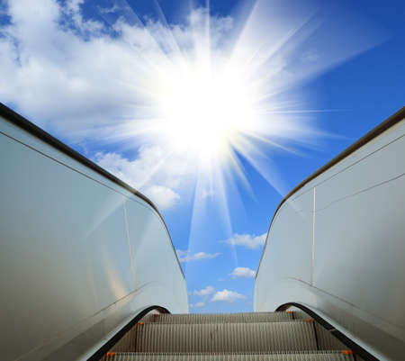 modern architecture steps of moving business escalator Pen path