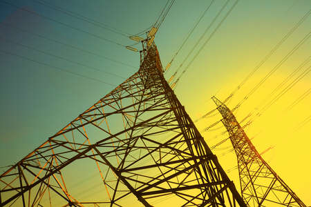 The power transmission towers of sky background Stock Photo