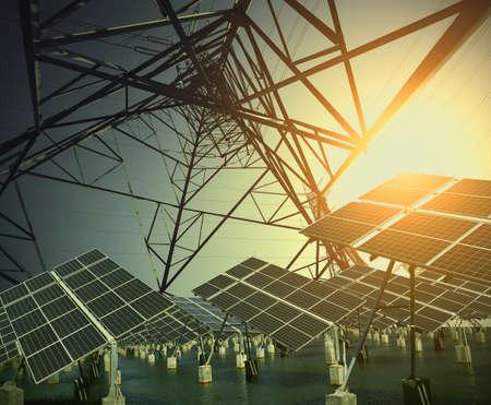 eficiencia energetica: Los aerogeneradores modernos de energía verde y la torre de transmisión de energía