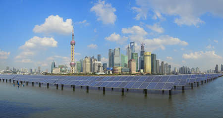Shanghai Bund skyline landmark ,Ecological energy renewable solar panel plant   photo