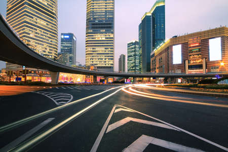 The street scene of the century avenue at night in shanghai,China