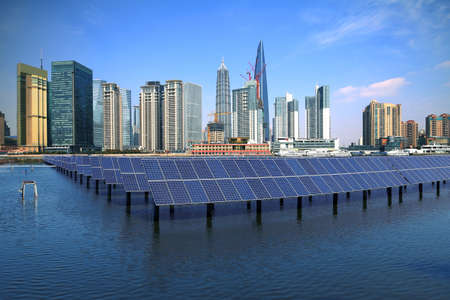 Shanghai Bund skyline landmark ,Ecological energy renewable solar panel plant Stock Photo - 19576512