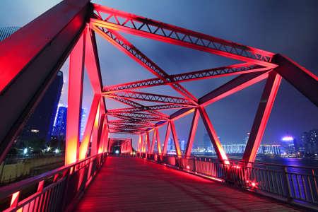 Steel structure bridge close-up night scene  Stock Photo