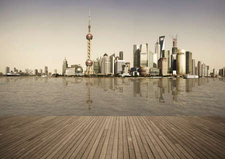 Shanghais landmark skyline prospects of wood floor corridor at urban buildings landscape