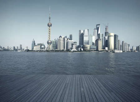 Shanghais landmark skyline prospects of wood floor corridor at urban buildings landscape  photo