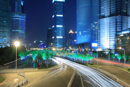 Night Light trace modern architecture  background  in Shanghai, China Stock Photo - 20472922