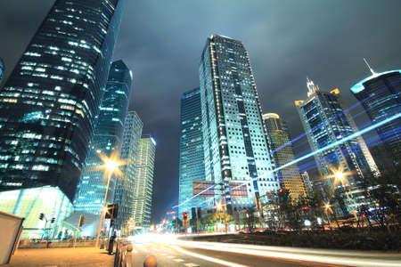 View long exposure photographs of urban night dusk Highway Traffic, Shot in Shanghai  photo