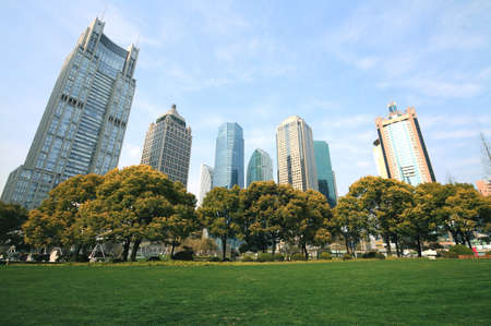 Shanghai Lujiazui urban buildings parks landscape photo
