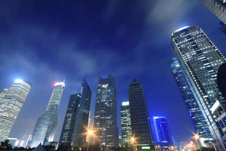 Shanghai Lujiazui Finance and Trade Zone of the modern city night backgrounds  photo